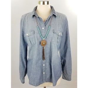 J. Crew Factory Chambray Perfect Shirt Button Down